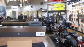 Checking my bike into the Bruce Rossmeyer Daytona Harley Davidson Dealership