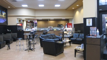 Lounge area and coffee shop inside dealership