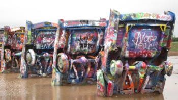 Cadillac Ranch - the cars are in a pretty big puddle after the horrendous rains in Texas in the past number of weeks.
