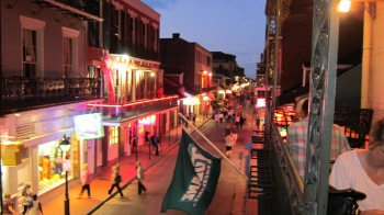 Bourbon Street from the balcony of Le Bayou Restaurant
