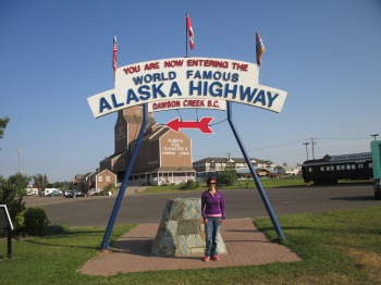The Historic Alaska Highway Mile 0 sign in Dawson Creek, BC