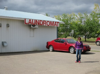 Outside the Fort Nelson Laundromat owned by my friend Cheryl