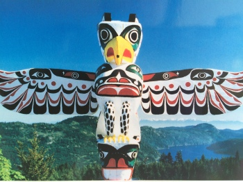 One of the local native totem poles in the area