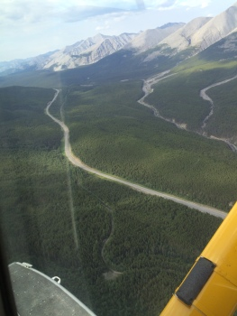 Here is a shot of the original Historic Alaska Highway, the second reconstruction of it and the road today