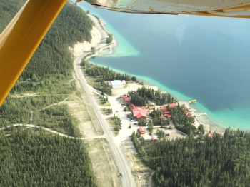 An aerial view of the Northern Rockies Lodge where I stayed while at Muncho Lake.  Check it out if you are in the area!