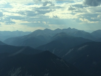 An aerial view of the Rockies