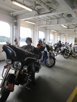 On the ferry getting ready to sail to Nanaimo. Must say Big Blue was the nicest bike in the lineup :)