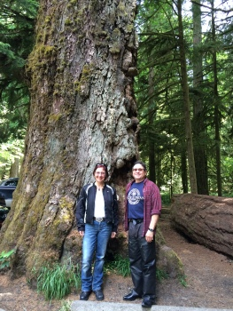 Visiting Cathedral Grove while out riding with Barry Switnicki from Pacific Change Mentors.