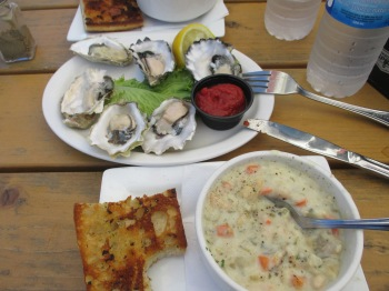 Lunch at the Fanny Bay Inn - the fresh raw oysters and clam chowder were very good!