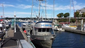 A working fish boat docked in the Nanaimo Harbour