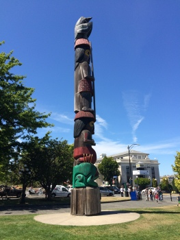 One of the many native totem poles found in downtown Victoria