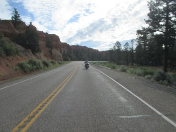 Riding through the Red Canyon on my way to Bryce Canyon National Park in Utah